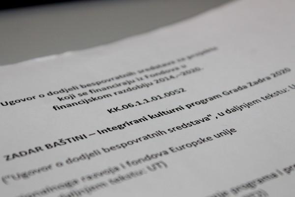 """Potpisan Ugovor za projekt """"ZADAR BAŠTINI – Integrirani kulturni program Grada Zadra 2020"""""""
